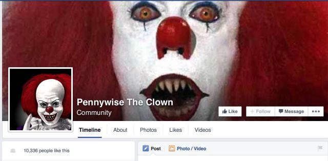 Pennywise la page Facebook Clown