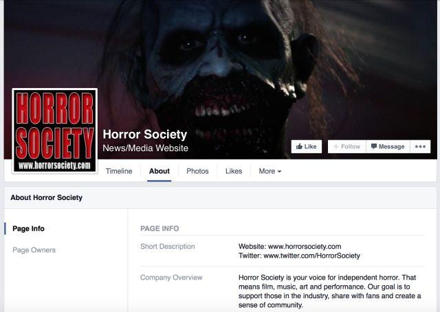 Société Horror Facebook