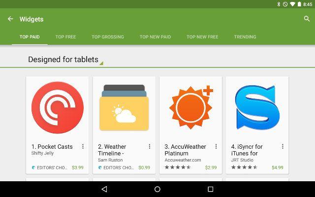 AndroidGooglePlay-Widgets