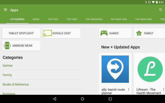 AndroidGooglePlay-Catégories