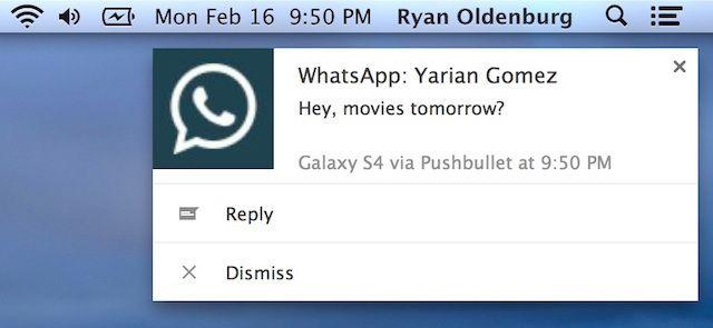 WhatsApp-pushbullet notification