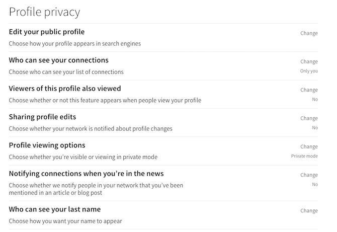 confidentialité du profil linkedin
