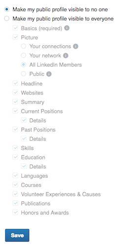 visibilité linkedin profil public