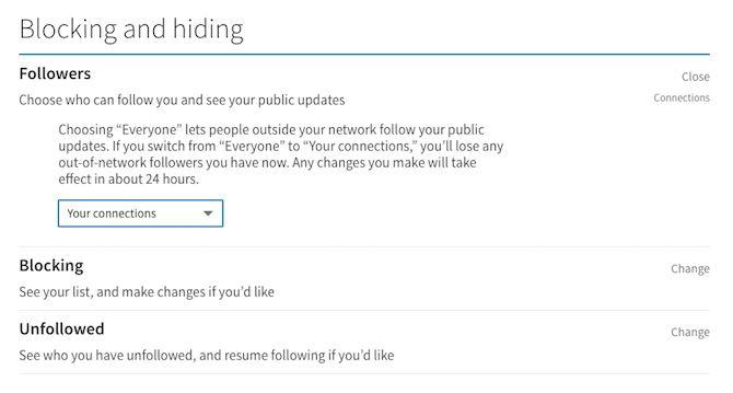 cacher le blocage linkedin