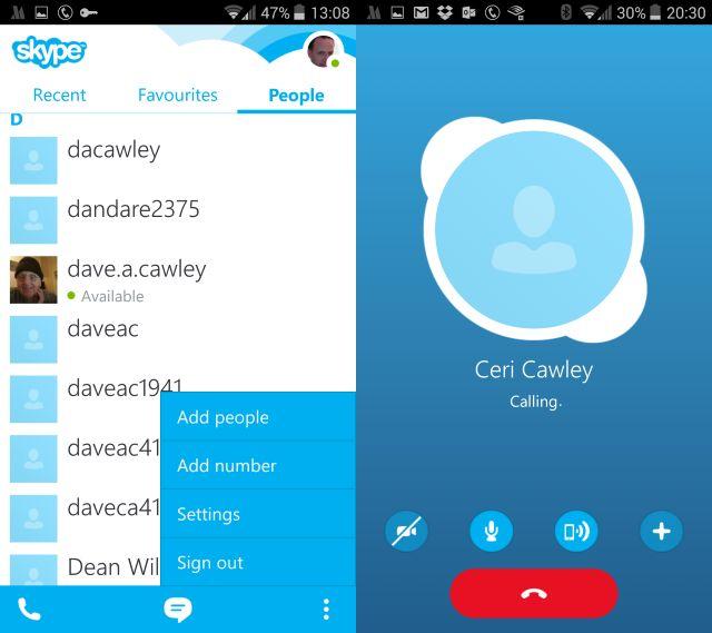 Muo-android-skype débutants appel
