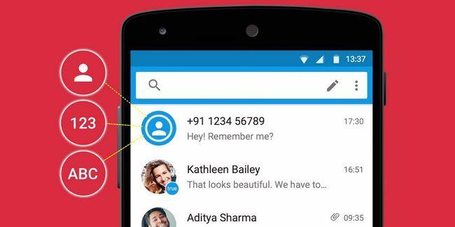 Identifier les nombres inconnus et bloquer les messages texte spam avec truemessenger pour android