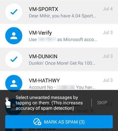 Truemessenger-identifier-unknown-texte-messages-filtre anti-spam SMS pour la première fois-spam exercice