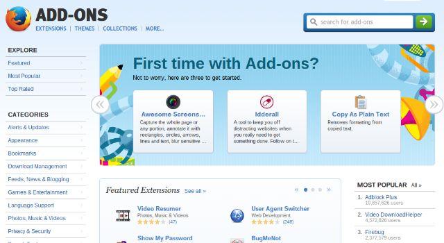 Mozilla Firefox-magasin-addons