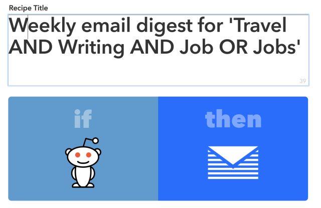 recette IFTTT et Reddit