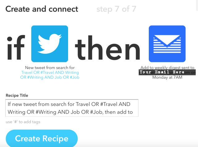 Si Twitter puis Email recette emploi