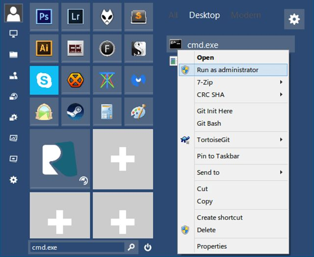 fenêtres administrateur-compte-menu de lancement