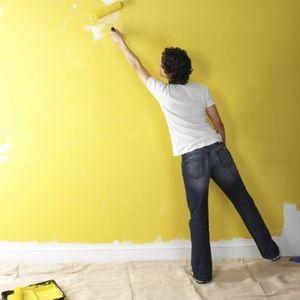 Окраска стен производится при помощи валика или распылителя