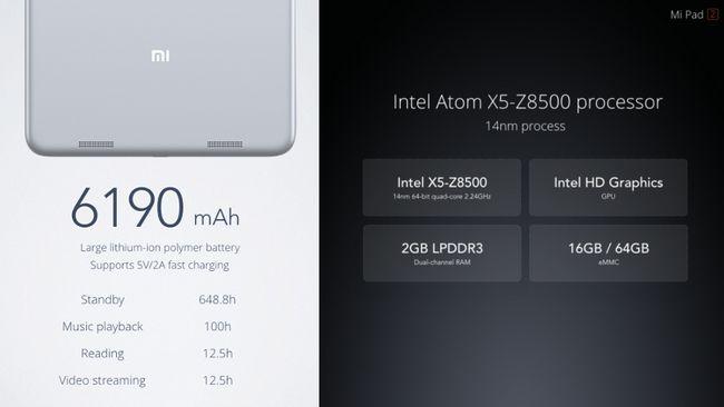 Характеристики планшета Xiaomi MiPad 2